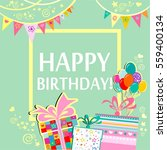 happy birthday  greeting card.... | Shutterstock . vector #559400134