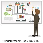 businessman writing on... | Shutterstock .eps vector #559402948