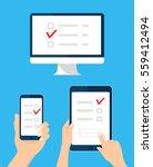 online survey  checklist set.... | Shutterstock .eps vector #559412494