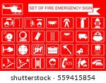 white sign of fire emergency at ... | Shutterstock .eps vector #559415854