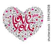 love postcard. lettering love.... | Shutterstock .eps vector #559419838