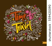 time to travel card. hand drawn ... | Shutterstock .eps vector #559420390