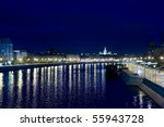 view on Moscow from the bridge at night - stock photo