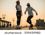 teenage couple riding... | Shutterstock . vector #559439980