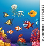 scene with sea animals under... | Shutterstock .eps vector #559443598