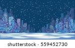 night city winter background.... | Shutterstock .eps vector #559452730