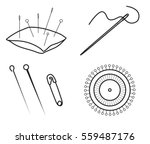 set of sewing needles and pins... | Shutterstock .eps vector #559487176