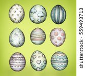 easter eggs with different...   Shutterstock . vector #559493713