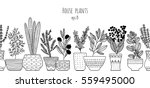 House Plants Seamless Border