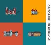 set of 4 flat vector castles.... | Shutterstock .eps vector #559500790