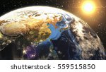 earth sunshine at east asia...   Shutterstock . vector #559515850