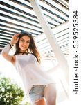 girl on the beach in the... | Shutterstock . vector #559525384