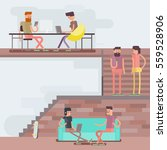 scenes of people working in the ... | Shutterstock .eps vector #559528906
