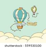 cartoon little people fly in...   Shutterstock .eps vector #559530100