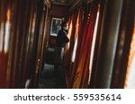 retro photo girl near a... | Shutterstock . vector #559535614