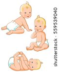 cute baby  in diaper. 0 12... | Shutterstock .eps vector #559539040