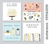 happy birthday party cards set. ... | Shutterstock .eps vector #559562050