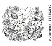 birds with flowers and hearts... | Shutterstock .eps vector #559562560