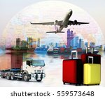 world wide cargo transport or... | Shutterstock . vector #559573648