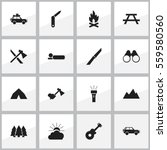 set of 16 editable camping... | Shutterstock .eps vector #559580560