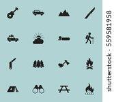 set of 16 editable travel icons.... | Shutterstock .eps vector #559581958