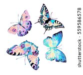 butterfly  watercolor  isolated ... | Shutterstock . vector #559586578