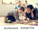 family spend time happiness... | Shutterstock . vector #559587790
