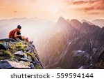 young tourist  hiker with... | Shutterstock . vector #559594144