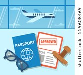approved visa document with... | Shutterstock .eps vector #559608469