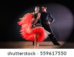 dancers in ballroom isolated on ... | Shutterstock . vector #559617550
