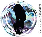 women silhouette on galaxy...   Shutterstock .eps vector #559618294