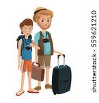 two men young senior tourist... | Shutterstock .eps vector #559621210