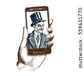 gentleman taking selfie... | Shutterstock .eps vector #559631770