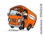 cartoon bus with a driver ... | Shutterstock .eps vector #559632118