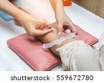close up nurse pricking needle