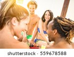multiracial friends having... | Shutterstock . vector #559678588