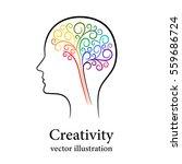 contour colourful brain in male ... | Shutterstock .eps vector #559686724