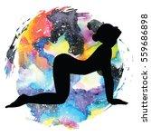 women silhouette on galaxy...   Shutterstock .eps vector #559686898