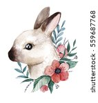 Watercolor Bunny Illustration....