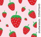 cute strawberry pattern... | Shutterstock .eps vector #559695643