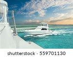 White Boat On The Light Blue...