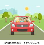 funny family driving in red car ... | Shutterstock .eps vector #559710676