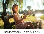 portrait of a girl using a... | Shutterstock . vector #559721278
