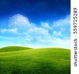 green grass field on small... | Shutterstock . vector #559725289