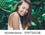 beautiful smiling girl with... | Shutterstock . vector #559726138
