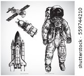Astronaut Hand Drawn Vector...