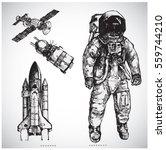 Astronaut Hand Drawn Vector...
