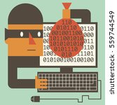 hacker steals valuable binary... | Shutterstock .eps vector #559744549
