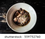 Small photo of noodles of thicken Soup put rice Vermicelli and meatballs in bowl of white