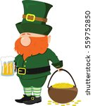 beard leprechaun with a beer... | Shutterstock .eps vector #559752850